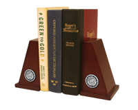 Sterling College Bookend - Silver Engraved Medallion Bookends