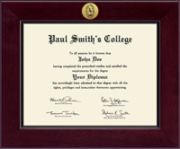 Paul Smith's College Diploma Frame - Century Gold Engraved Diploma Frame in Cordova