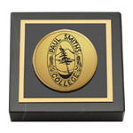 Paul Smith's College Paperweight - Gold Engraved Medallion Paperweight