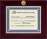 Certified Horsemanship Association Certificate Frame - Century Gold Engraved Certificate Frame in Cordova