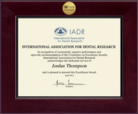 International Association of Dental Research Certificate Frame - Century Gold Engraved Certificate Frame in Cordova