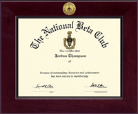 The National Beta Club Certificate Frame - Century Gold Engraved Certificate Frame in Cordova