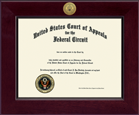 The United States Court of Appeals Certificate Frame - Century Gold Engraved Certificate Frame in Cordova