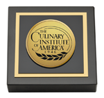 Culinary Institute of America Paperweight - Gold Engraved Medallion Paperweight