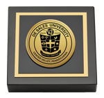 DeSales University Paperweight  - Gold Engraved Medallion Paperweight