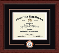 Ridgefield High School in Connecticut Diploma Frame - Lasting Memories Circle Logo Diploma Frame in Sierra