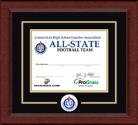 Connecticut High School Coaches Association Certificate Frame - Lasting Memories Circle Logo Certificate Frame in Sierra
