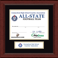 Connecticut High School Coaches Association Certificate Frame - Lasting Memories Banner Certificate Frame in Sierra