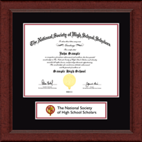 The National Society of High School Scholars Certificate Frame - Lasting Memories Banner Certificate Frame in Sierra