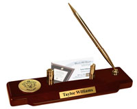 Delta Sigma Pi Desk Pen Set - Gold Engraved Medallion Desk Pen Set