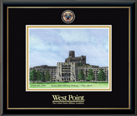 United States Military Academy Litho Frame - Masterpiece Medallion Washington Hall Litho Frame in Onexa Gold