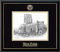 United States Military Academy Litho Frame - Masterpiece Medallion Cadet Chapel Litho Frame in Onexa Gold