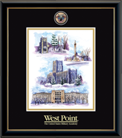 United States Military Academy Litho Frame - Masterpiece Medallion Winter Collage Litho Frame in Onexa Gold