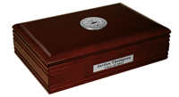 D'Youville College Desk Box  - Silver Engraved Medallion Desk Box