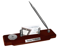 D'Youville College Desk Pen Set - Silver Engraved Medallion Desk Pen Set