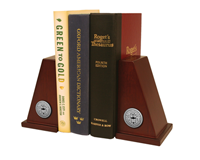 D'Youville College Bookends - Silver Engraved Medallion Bookends