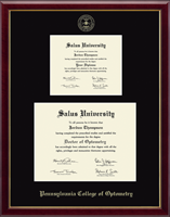 Pennsylvania College of Optometry Diploma Frame - Double Diploma Frame in Galleria