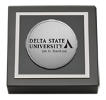 Delta State University  Paperweight - Silver Engraved Medallion Paperweight
