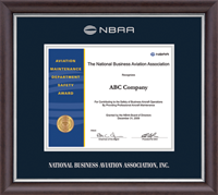 National Business Aviation Association Certificate Frame - Silver Embossed Certificate Frame in Devonshire