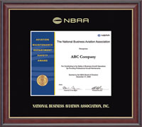 National Business Aviation Association Certificate Frame - Gold Embossed Certificate Frame in Studio Gold