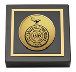 Albany Medical College Paperweight  - Gold Engraved Medallion Paperweight