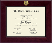 The University of Utah Diploma Frame - Century Gold Engraved Diploma Frame in Cordova