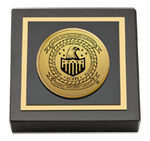 American College of Forensic Examiners Institute Paperweight  - Gold Engraved Medallion Paperweight