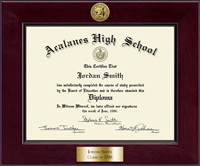 Acalanes High School in California Diploma Frame - Century Gold Engraved Diploma Frame in Cordova