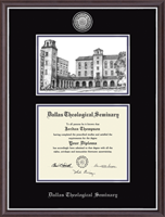Dallas Theological Seminary Diploma Frame - Campus Scene Silver Engraved Medallion Diploma Frame in Devon