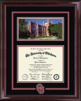 The University of Oklahoma Diploma Frame - Campus Scene & Spirit Medallion Diploma Frame in Encore