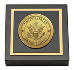 United States District Court Paperweight - Gold Engraved Medallion Paperweight
