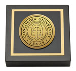 Concordia University Texas Paperweight - Gold Engraved Medallion Paperweight