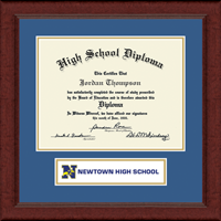 Newtown High School in Connecticut Diploma Frame - Lasting Memories Banner Diploma Frame in Sierra