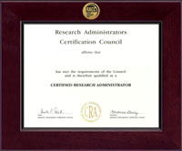 Research Administrators Certification Council Certificate Frame - Century Gold Engraved Certificate Frame in Cordova