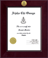Alpha Chi Omega Certificate Frame - Century Gold Engraved Certificate Frame in Cordova