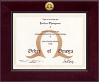 Order of Omega Certificate Frame - Century Gold Engraved Certificate Frame in Cordova