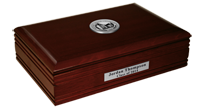 Western Oregon University Desk Box - Silver Engraved Medallion Desk Box