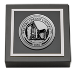 Western Oregon University Paperweight - Silver Engraved Medallion Paperweight