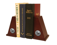 Western Oregon University Bookends - Silver Engraved Medallion Bookends