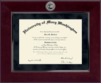University of Mary Washington Diploma Frame - Millennium Silver Engraved Diploma Frame in Cordova