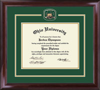 Ohio University Diploma Frame - Brass Spirit Medallion Diploma Frame in Encore