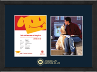 American Kennel Club Certificate & Photo Frame - Gold Embossed Canine Partner Certificate & 8' x 10' Photo Frame in Arena