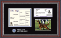 American Kennel Club Certificate, Registration And Photo Frame - Masterpiece Medallion Pedigree Certificate/Registration & 5' x 7' Photo Frame in Kensington Silver