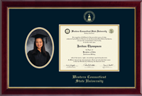 Western Connecticut State University Diploma Frame - Gold Embossed Senior Portrait Diploma Frame in Gallery