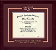 Virginia Polytechnic Institute and State University Diploma Frame - Spirit Medallion Diploma Frame in Cordova