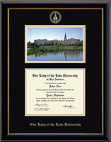 Our Lady of the Lake University Diploma Frame - Campus Scene Diploma Frame in Onyx Gold