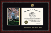Supreme Court of the United States Certificate Frame - Cherry Blossom Scene Gold Engraved Certificate Frame in Sutton