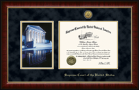 Supreme Court of the United States Certificate Frame - Night Reflection Scene Gold Engraved Certificate Frame in Murano