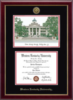 Western Kentucky University Diploma Frame - Campus Scene Gold Engraved Medallion Edition Diploma Frame in Gallery