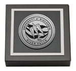 University of Wisconsin River Falls Paperweight - Silver Engraved Medallion Paperweight